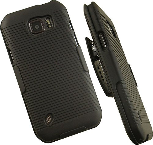NAKEDCELLPHONE'S BLACK RIBBED RUBBERIZED HARD SHELL CASE COVER + BELT CLIP HOLSTER STAND FOR SAMSUNG GALAXY S6 ACTIVE G890 PHONE (AT&T, Unlocked, SM-G890, SM-G890A) from Nakedcellphone
