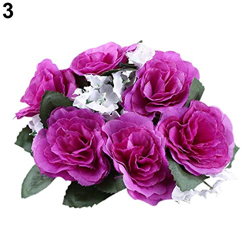 Baost Artificial Flower Floral Candle Ring Wreath X-mas Candle Holder Wedding Tabletop Centerpiece Decor Mini-Wreath Candle Ring for Wedding Christmas Party Holiday Decoration Purple