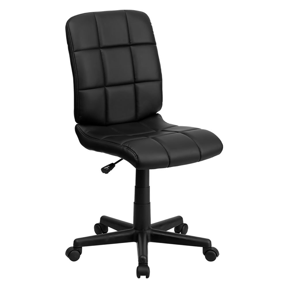 Offex Mid Back Black Quilted Vinyl Task Chair with Nylon Base