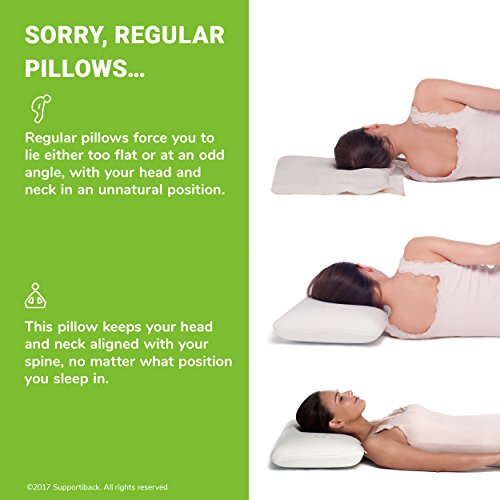 -[ Supportiback® Comfort Therapy Memory Bed Pillow With Heat Dissipating CoolGel, Reversible Si
