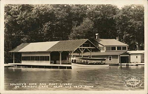 Livery Post - Downey's Dock and Boat Livery, Rainbow Lake West Bend, Wisconsin Original Vintage Postcard