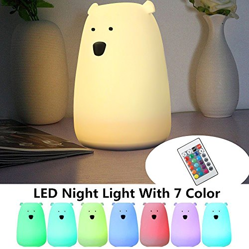 Children Night Light, SOLMORE Multicolor Soft Silicone LED Night Light,Cartoon Bear Night Lamp,Kids Bedside Lamp,USB Rechargeable with Remote for Baby Room Bedroom Birthday Gift