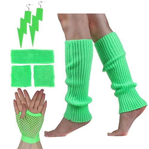 Neon Green 80s Workout Accessory Set