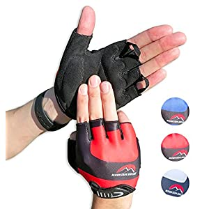 Cycling Gloves Mountain Bike Gloves Road Racing Bicycle Gloves for Biking, Mountain Biking, Riding, Gym, Sports, Foam Padded Breathable Half Finger Gloves, Men Women Work Gloves Red Large