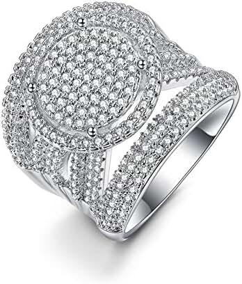 Redbarry Luxury Circle Round Cubic Zircon CZ Diamond 18K Yellow / White Gold Plated Wedding Band Rings