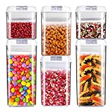 Air-Tight Food Storage Container Set [6-Piece Set] - Pantry Durable Seal Pot - Cereal Storage Containers - for Dry Foods & Liquids - BPA Free - Clear Containers with White Lids