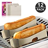 12 Pack Toaster Bags,Mopoin Non Stick Reusable Toaster Bag for Grilled Cheese,FDA&LFGB Approved,Gluten Free,Easy to Clean and Heat Resistant,Perfect for Sandwiches,Pizza,Chicken,Panini & Garlic Toast