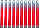 HUMVEE HMV-6RED10 6-Inch Weatherproof Lightstick with 12-Hour Glow Time, Red, 10 Pack