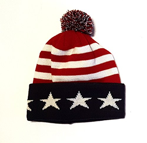 (Euroscarves USA Beanie Winter Cap Hat Stars and Stripes (Red))