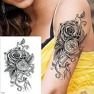 3ps-Rose brújula manga tatuaje brazo negro tatuaje chica body art ...
