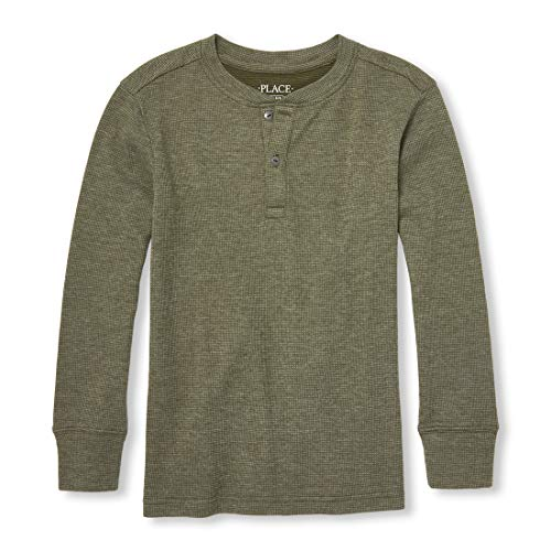 The Children's Place Big Boys' Waffle Thermal Long Sleeve Shirt, Oregano, XS (4)