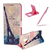 Wallet Leather Case for Samsung Galaxy S9,3D Special Effects Flip Cover for Samsung Galaxy S9,Herzzer Stylish Eiffel Tower Print Magnetic Full Body Slim Card Slots Stand Folio Leather Case with Soft Silicone
