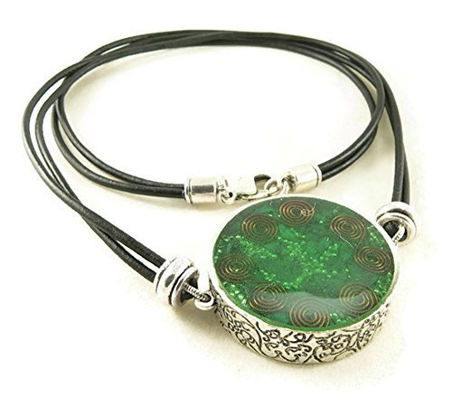 Orgone Energy Large Reversible Pendant Necklace in Silver with Malachite