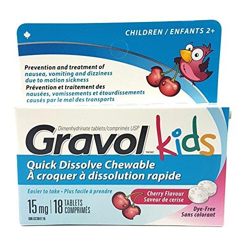 - GRAVOL Children's 18 Quick Dissolve CHERRY Chewable Tablets for Anti-Vomiting/Nausea Dye Free
