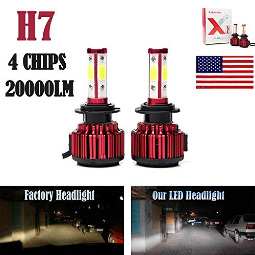 2Pcs H7 LED Headlight Bulbs Conversion Kit Car Headlamp 20000LM 6000K Cool White Hi/Lo Beam DRL Fog Light Replace for Halogen HID - Plug and Play