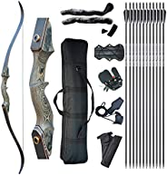 """Tongtu 60"""" Archery Hunting Recurve Bow and Arrows Set for Adults Right Handed Target Practice Shooting Su"""