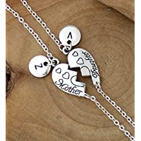 Personalized Initial Disc 2 Pcs Set Lovely Mother Daughter Charm Bracelet Mother's Day,Christmas Gifts