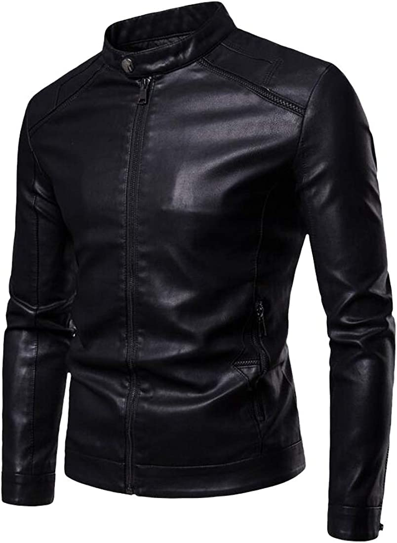 Heless Mens Full-Zip Stand Collar Slim Fit Faux Leather Casual Coat Jacket Outerwear