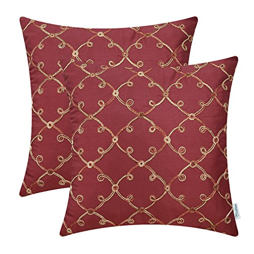 CaliTime Pack of 2 Faux Silk Throw Pillow Covers Cases for Sofa Couch Home Decoration 18 X 18 Inches Gradient Trellis Geometric Chain Embroidered Deep Red