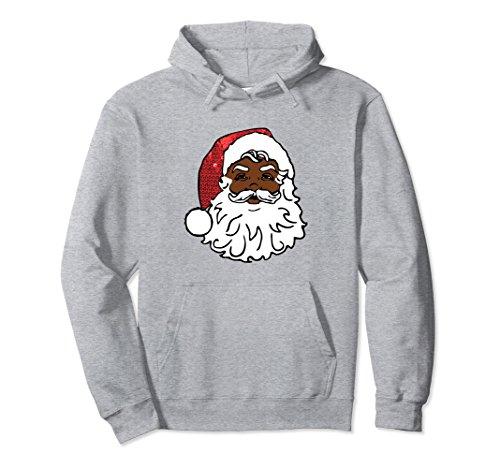 Unisex african santa claus hoodie ugly christmas kwanzaa sweatshirt XL: Heather Grey