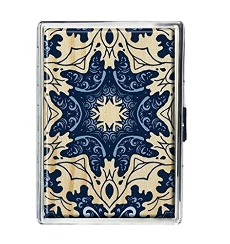 - Blue Mandala Design Stainless Steel ID Cigarettes Case Holder Stylish Credit Card Wallet