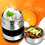 Vacuum Insulated Lunch Box Stainless Steel Food Jar 2 Tiers Food Container Food Carriers Thermal Lunch Container Leakproof Food Storage Box Food Savors with Handles 1.4L Holding Time 6hr 7x5'' (7)