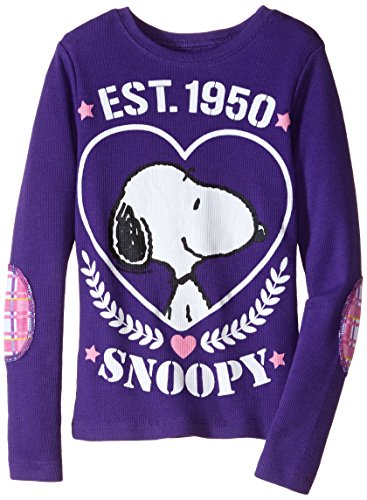 Peanuts Little Girls' Snoopy EST.1950 Inch Long Sleeve Thermal Top With Printed Elbow Patch, Grape Violet, - Girl Est