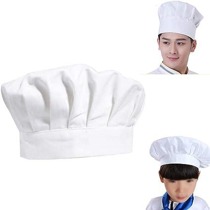 Chytaii Sombrero Cocinero Gorro de Cocinero Estilo Seta Sombrero de Hotel  Ajustable Gorro para Trabajo Bricolaje 1faf7328e92