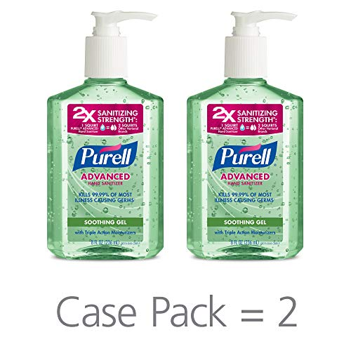 PURELL Advanced Hand Sanitizer Soothing Gel, Fresh Scent, with Aloe and Vitamin E- 8 fl oz Pump Bottle (Pack of 2) - 9674-06-EC2PK ()