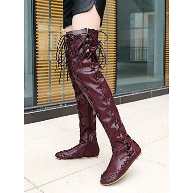 RTRY Zapatos De Mujer Otoño Invierno Pu Novedad Luz Soles Botas De Tacón Bajo Puntera Redonda Muslo-Alta Botas Lace-Up For Casual Parte &Amp; Noche Brown US4-4.5 / EU34 / UK2-2.5 / CN33