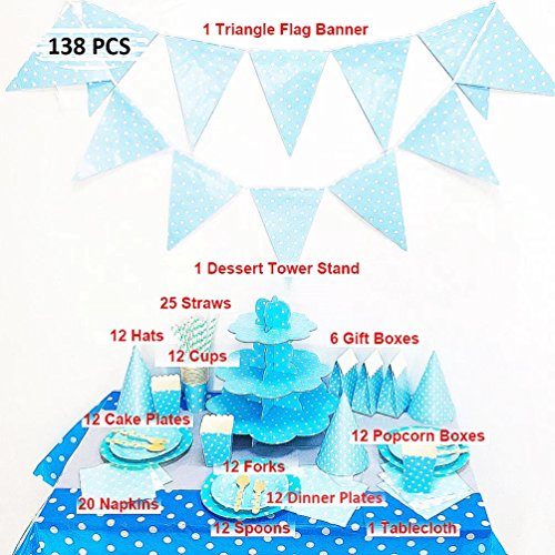 138 Pcs Blue Polka Dot Party Supplies Pack Kit Include Cups Plates Napkins Hats Popcorn Box Dessert Tower Tableware Table Cover Gift Boxes Triangle Flag Banner for 12 Guests (Hats Christmas Paper Construction)