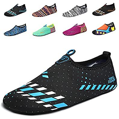 LAROK Men And Women's Quick-Dry Sport Barefoot Water Shoes Aqua Socks For Beach Surf Yoga Exercise,NHS01.2Blue,35