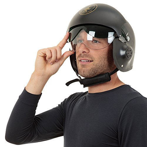Bristol Novelty Jet Pilot Helmet. Hats Mens One Size - Black/Gold