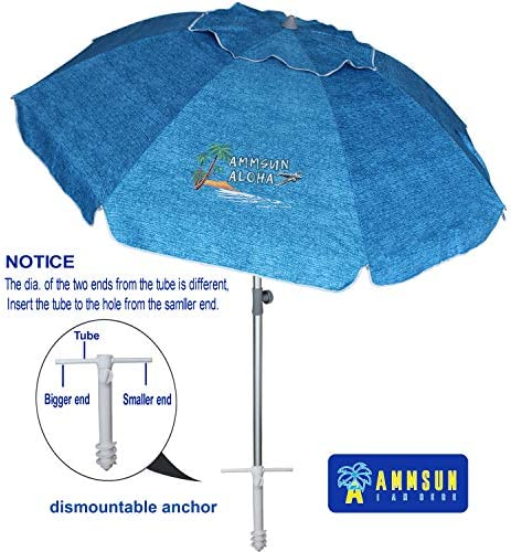 AMMSUN 7 ft Sand Anchor Beach Umbrella Adjustable Height with Tilt Aluminum Pole, Portable UV 50 Protection Beach Umbrella for Outdoor Patio Lake Blue