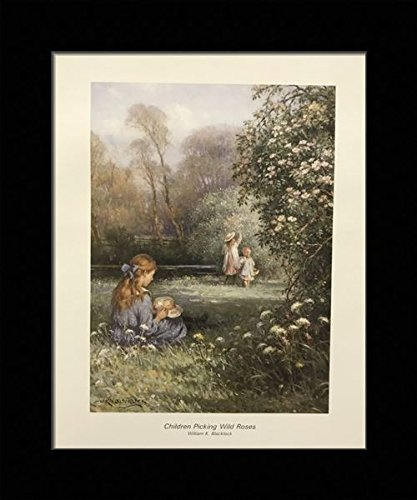 - Black 1 inch Framed with Children Picking Wild Roses, (White/Victorian / Kids / 18-8X10-G) 8x10 Inch William K. BLACKLOCK, Art Print & Poster