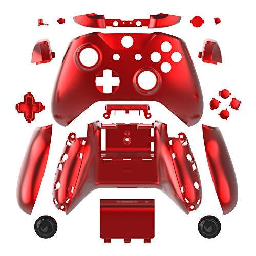 WPS Chrome Color Case Housing Full Shell Set Faceplates + ABXY Buttons + RB LB Bumpers + Right/Left Rails for Xbox One S Slim (3.5 mm Headphone Jack) Controllers (Chrome Red) (Xbox One Controller Full Shell)