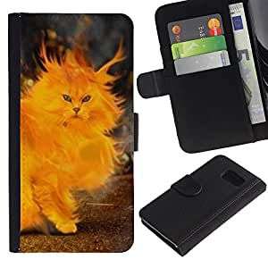 Paccase / Billetera de Cuero Caso del tirón Titular de la tarjeta Carcasa Funda para - Fire Cat Painting Heart Yellow Flames - Samsung Galaxy S6 SM-G920