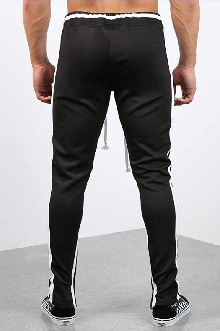 Cromoncent Mens Sports Trousers Striped Zipper Spliced Pants