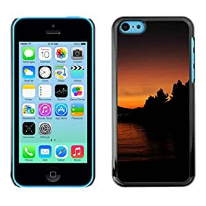 // PHONE CASE GIFT // Duro Estuche protector PC Cáscara Plástico Carcasa Funda Hard Protective Case for iPhone 5C / Lago Sunset /