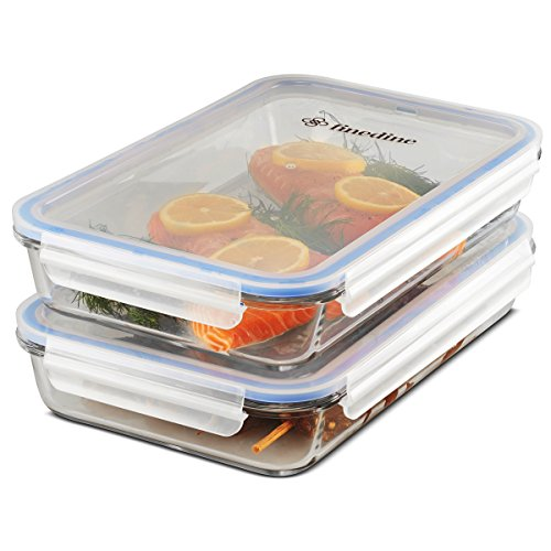 FineDine Casserole Borosilicate Glass Baking Dish Set of 2, Leak-Proof BPA Free Shatter Resistant Oven, Microwave, and Freezer Safe Food Storage Lasagna pan Airtight silicone sealed container 64 oz.