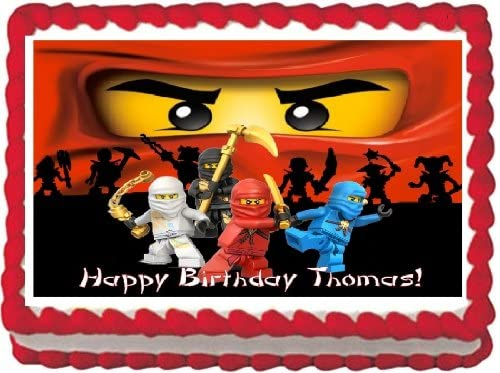 Ninjago Edible Image Cake Topper 1 4 Sheet Birthday PERSONALIZED FREE Amazon Grocery Gourmet Food