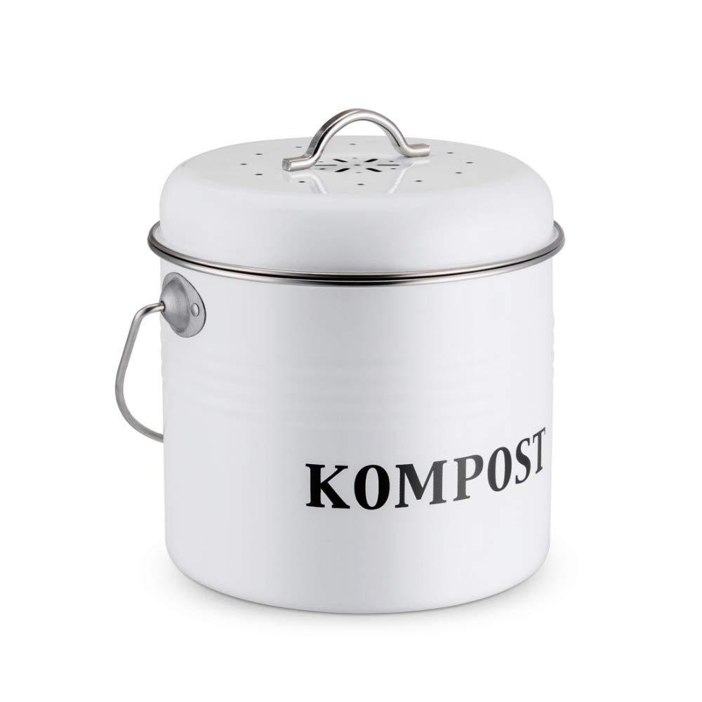 GRASSAIR 5L Küchenkompost Bin Organic Homemade Trash Can Melons Leaves Outdoor-Countertop Eisenkohle Charcoal Filter Bucket