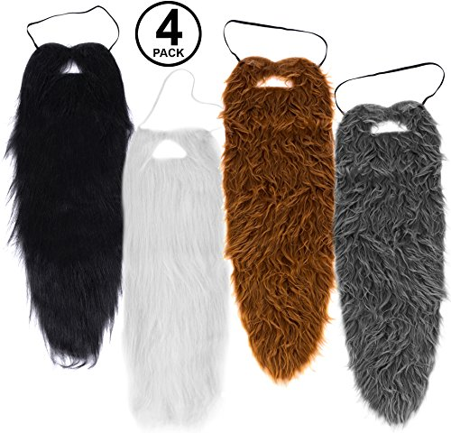 Tigerdoe Beards - 4 Pack - Long Beard Costume - 23