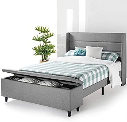 detailed look e7894 e17c0 Mellow Modern Upholstered Platform Beds with with Headboard and Bedside  Storage Ottoman (No (No Box Spring Needed), Queen, Gray