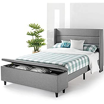 Best Price Mattress Modern Upholstered Platform Beds with Headboard and Bedside Storage Ottoman (No Box Spring Needed), Full, Gray