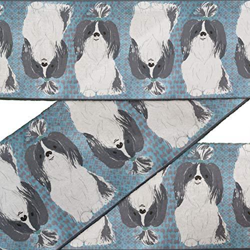 IBA Indianbeautifulart Blue Lhasa Apso Dog Fabric Laces for Crafts Printed VelvetTrimFabric Sewing Border RibbonTrims9 Yards 3 Inches