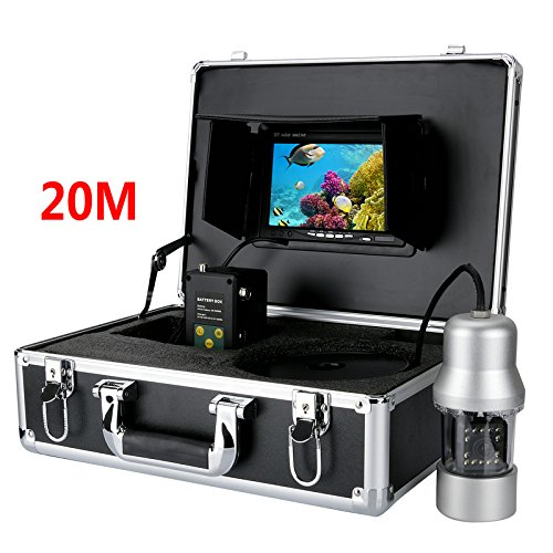 MAOTEWANG 20M 1/3 Inch SONY CCD Underwater Fishing Camera - 360 Degree View, Remote Control, 7 Inch LCD Monitor, 14x White Lights by MAOTEWANG