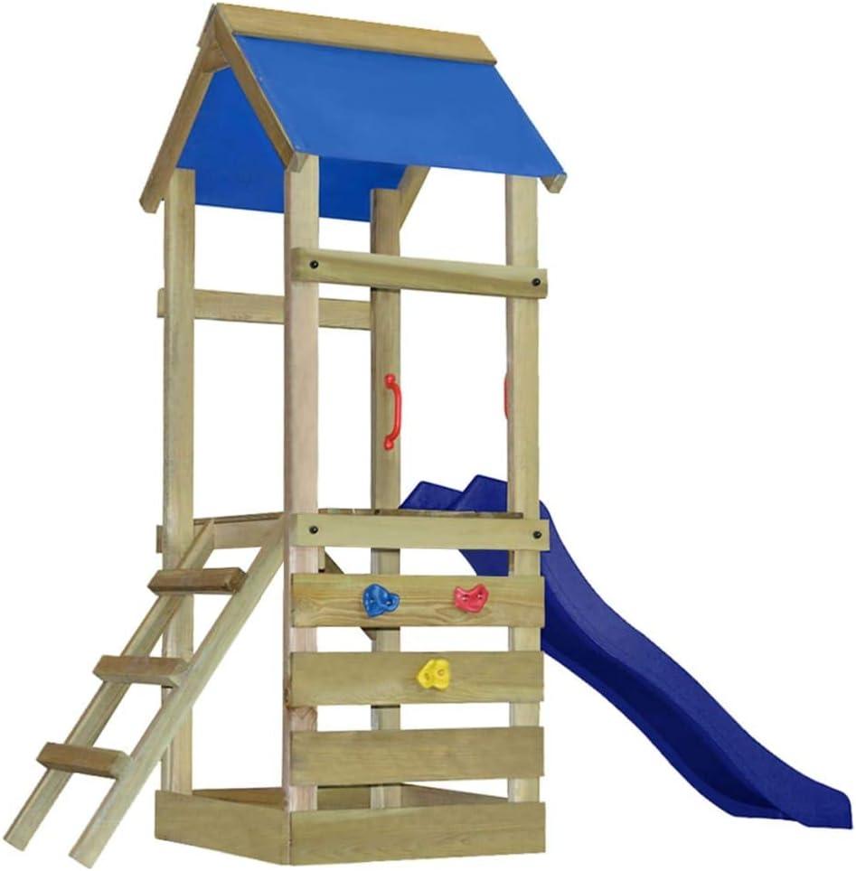 vidaXL Juego de Parque Infantil con Escalera y Tobogán Madera 260x90x245 cm: Amazon.es: Juguetes y juegos