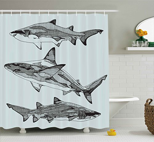 Animal Decor Shower Curtain by Ambesonne, Sealife Big Fierce Dangerous Fish Shark Jaws Tails Sketchy Artistic Image, Fabric Bathroom Decor Set with Hooks, 70 Inches, Turquoise (Most Dangerous Sharks)