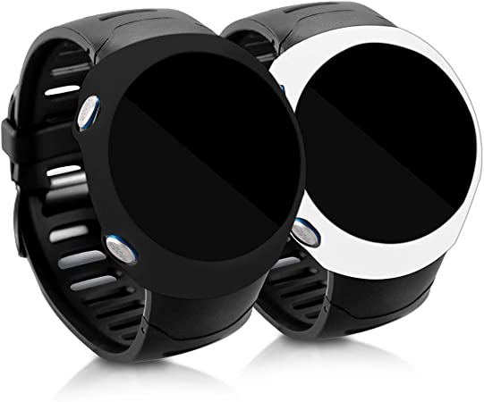 kwmobile Cases Compatible with Garmin Forerunner 610 Set of 2 Silicone Covers - Black//White Fitness Tracker Not Included